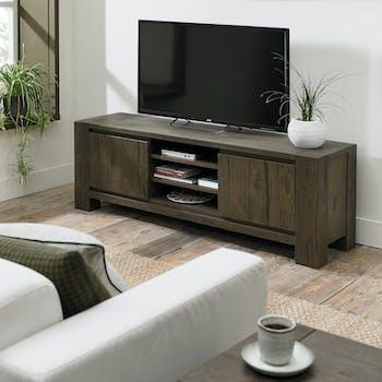 Meuble tv en bois de chêne fumé ALLEN