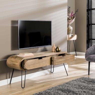 Meuble tv en bois forme oblongue NIAGARA
