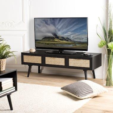 Meuble TV en bois noir avec cannage PALMA 2