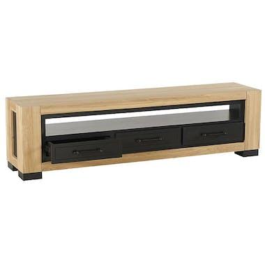 Meuble TV en bois clair et noir de style contemporain