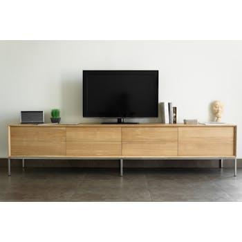 Meuble TV en Chêne massif naturel, 2 portes rabattables et 2 tiroirs 225x41x50cm KUBICO