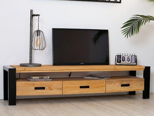Meuble TV en bois et metal trois tiroirs de style industriel