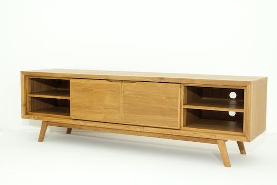Meuble TV en bois massif avec portes de style vintage
