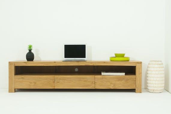 Meuble TV en bois massif avec tiroirs de style contemporain