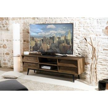 Meuble TV esprit scandinave en Teck recyclé 4 tiroirs, 2 niches ouvertes 160x42x55cm SWING