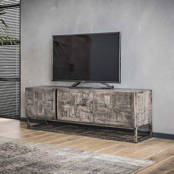 Meuble TV en bois et metal vieilli trois portes style contemporain