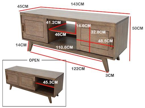 Meuble TV hévéa 2 portes 143cm SIXTIES