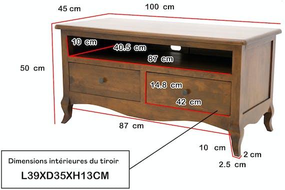 Meuble TV Hévéa 2 tiroirs, 1 grande niche 100x45x50cm TRADITION