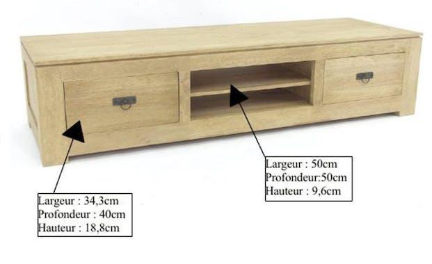 Meuble TV hévéa 2 tiroirs 150x40cm HELENA