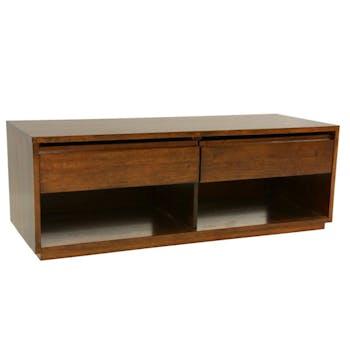Meuble TV Hévéa 2 tiroirs, 2 niches basses 120x45x45cm BALTIC