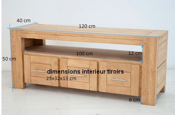 Meuble TV Hévéa 3 tiroirs, 1 grande niche 120x40x50cm ATTAN