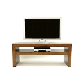 Meuble TV Hévéa double plateaux 120x50x60cm OLGA