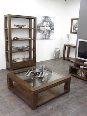 Meuble TV hévéa niches 150x60cm HELENA