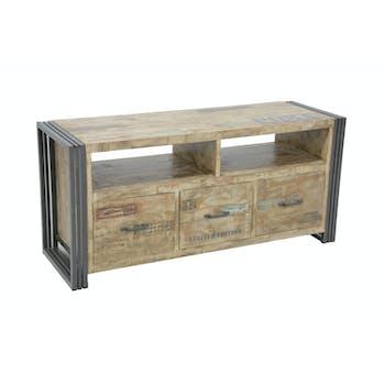Meuble TV hévéa recyclé blanchi et métal noirci 3 tiroirs 2 niches 120X40X55cm DOCKER