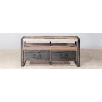Meuble TV bois recycle et metal deux tiroirs de style industriel