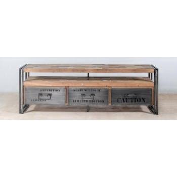 Meuble TV bois recycle et metal trois tiroirs de style industriel