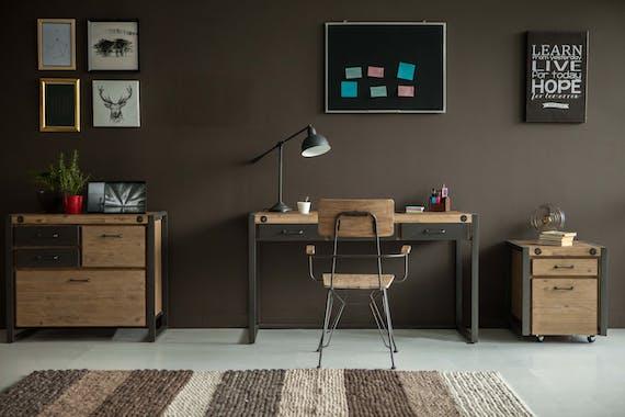 Meuble TV en bois et metal tiroirs et porte de style industriel