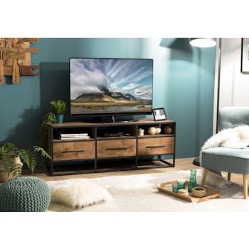 Meuble TV en bois recycle et metal trois tiroirs de style contemporain