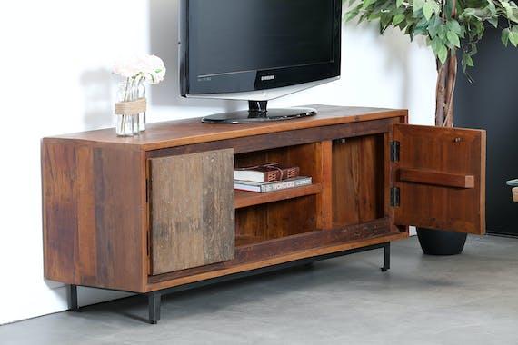 Meuble TV en bois recycle brut deux portes style industriel