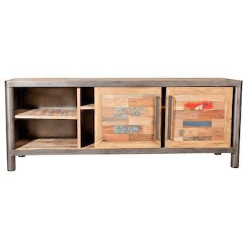 Meuble TV bois recycle et metal portes coulissantes de style industriel