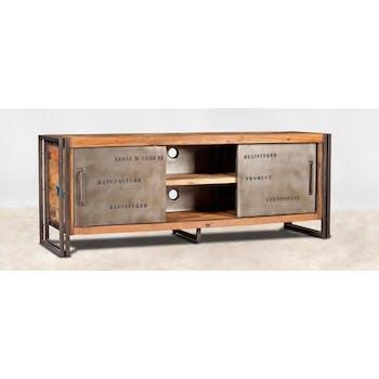 Meuble TV bois recycle et metal deux portes de style industriel