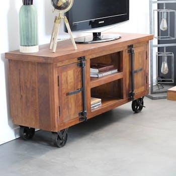 Meuble TV en bois recycle avec roulettes de style industriel