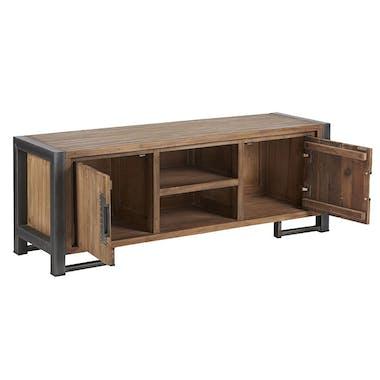 Meuble TV en bois et metal deux portes de style industriel
