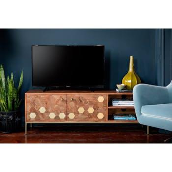 Meuble TV moderne acacia laiton HOBART