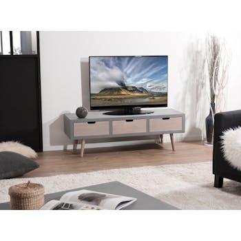Meuble TV en bois gris trois porte de style contemporain
