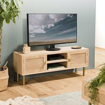 Meuble tv moderne toile de jute CORDOUE
