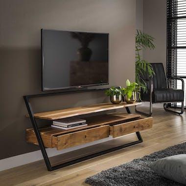 Meuble tv mural en bois et métal MELBOURNE