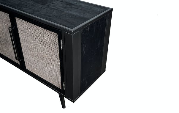 Meuble tv noir 3 portes NAPLES