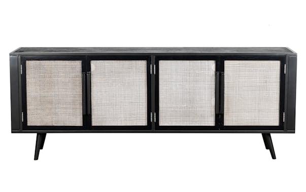 Meuble tv noir 4 portes NAPLES
