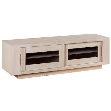 Meuble TV porte coulissante bois de chêne ciré blanchi MANILLE