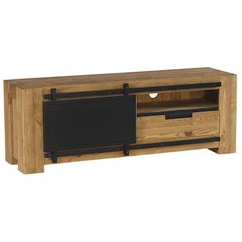 Meuble TV en bois et metal porte coulissante style industriel
