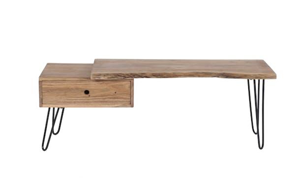 Meuble TV en bois massif un tiroir de style contemporain