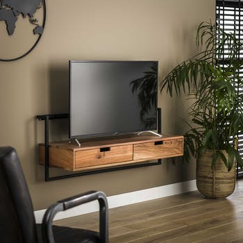 Meuble tv suspendu en bois et métal MELBOURNE