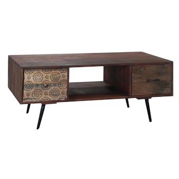 Meuble TV en bois pieds metal deux tiroirs de style exotique