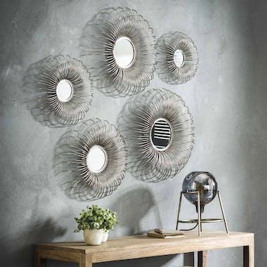Miroir décoratif en métal forme soleil (5 pièces) TRIBECA