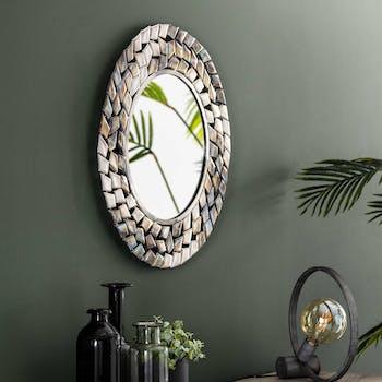 Miroir rond contemporain frise métal vieilli D 65 cm TRIBECA