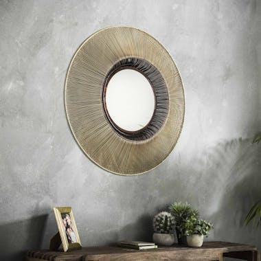 Miroir rond contemporain or et cuivré D80 cm TRIBECA