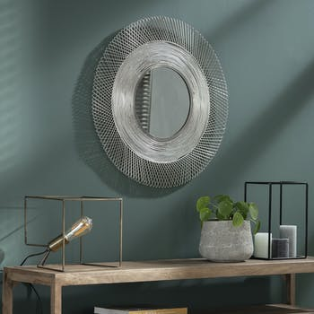 Miroir soleil contemporain métal gris
