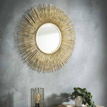 Miroir soleil finition dorée en métal D80 cm TRIBECA