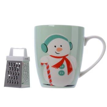 Mug en porcelaine décor Bonhomme de Neige avec rape à chocolat 10cm