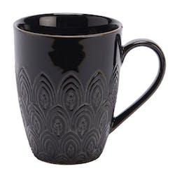 Mug noir motifs art déco grès