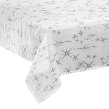 Nappe blanche 140 x 240 avec étoiles et paillettes argentées