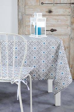 Nappe rectangle grise motifs arabesques et étoiles bleues 140x250cm LISBOA