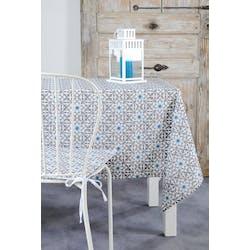 Nappe rectangle motifs carreaux d'arabesques bleu blanc gris 140x250cm LISBOA