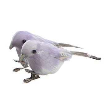 Oiseau lilas avec clip 10x4cm