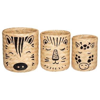 Panier de rangement enfant thème animaux en bambou (lot de 3)